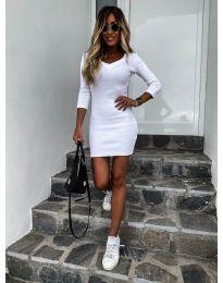 Изчистена рокля в бяло - код 4040