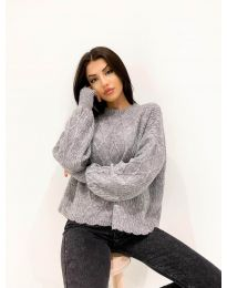 Дамски пуловер в сиво - код 4172