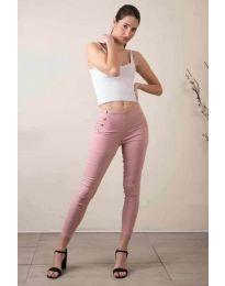 Стилен дамски панталон в розово - код 733