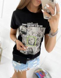 Атрактивна тениска с принт в черно - код 2353