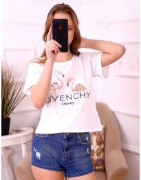 Бяла дамска тениска с фламинги и паети - код 3549