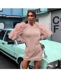 Ефектна дамска рокля в розово - код 6383