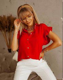 Дамска риза с къдрици в червено - код 4136
