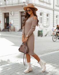 Модерна дамска рокля в цвят капучино - код 8203