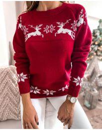 Дамски пуловер със зимен десен - код 1219 - 2