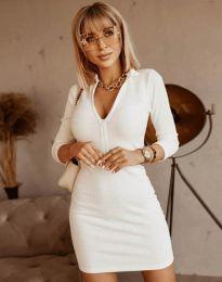 Стилна рокля по тялото в бяло - код 11643