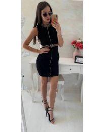 Вталена рокля с цип в черно - код 618