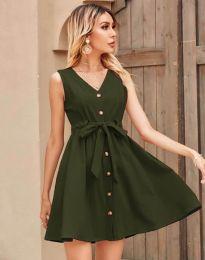 Дамска рокля в масленозелено - код 8188