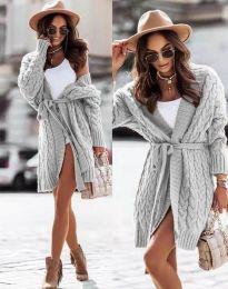 Дамска дълга плетена жилетка с колан в сиво - код 2894