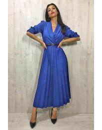 Синя плисирана дамска рокля - код 014