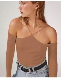 Дамска блуза в кафяво - код 8063