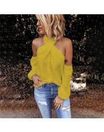 Стилна блуза с ефектни ръкави в цвят горчица - код 6568