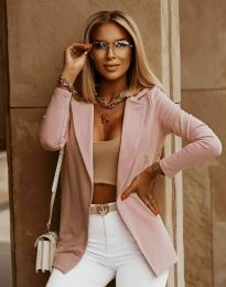 Дамско ежедневно сако в цвят пудра - код 2365