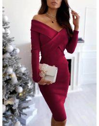 Елегантна рокля в бордо - код 6130