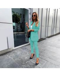 Елегантен комплект от сако и панталон в цвят мента - код 862