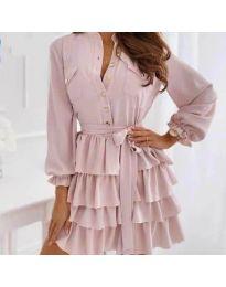 Атрактивна рокля в цвят пудра - код 7356