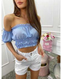 Дамска блуза с голи рамене в светло синьо - код 1162