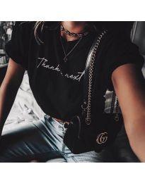 Черна дамска тениска с надпис в предната част - код 3582