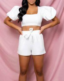 Дамски комплект топ и къси панталонки в бяло - код 0851