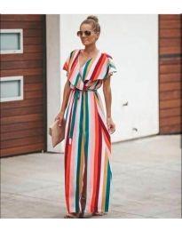 Многоцветна дълга рокля с цепка - код 993