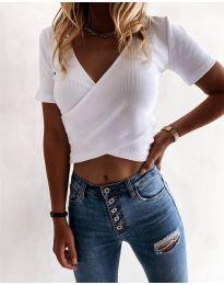 Дамска тениска в бяло - код 1102