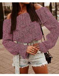Блуза с лодка деколте в розово - код 5452