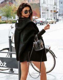 Дамска свободна плетена жилетка с качулка в черно - код 4760