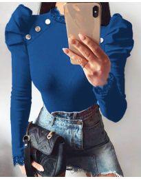 Екстравагантна дамска блуза в синьо - код 9630