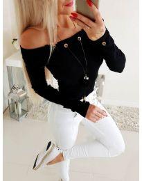 Изчистена дамска блуза в черно - код 3572
