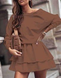 Дамска рокля в кафяво - код 0525