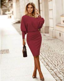 Елегантна дамска рокля в цвят бордо - код 2242