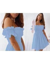 Свободна къса дамска рокля в светло синьо - код 0310