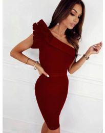 Елегантна рокля в бордо - код 2049