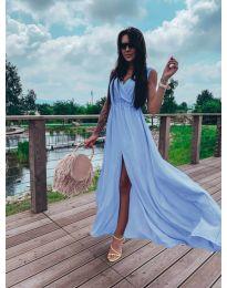 Дълга рокля с цепка в светло синьо - код 1174