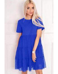 Свободна рокля в син цвят - код 417
