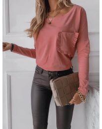 Дамска блуза в цвят праскова - код 0382