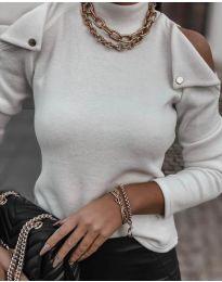 Екстравагантна дамска блуза в бяло - код 1596