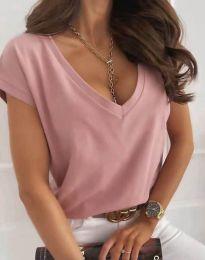 Свободна дамска тениска с остро деколте в цвят пудра - код 2389