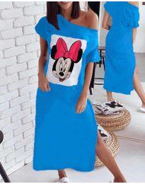 Свободна рокля в синьо с принт - код 6656