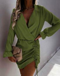 Елегантна рокля в масленозелено - код 4271