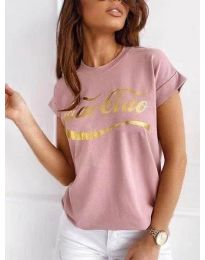 Дамска тениска в цвят пудра със златист принт - код 3659