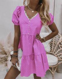 Дамска рокля в розово на точки - код 8292