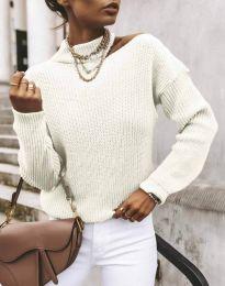 Дамски ефектен пуловер в бяло - код 1804