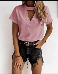 Дамска изчистена тениска в розово - код 3597