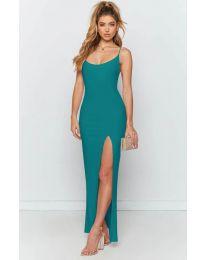 Дълга рокля с цепка в цвят тюркоаз - код 715