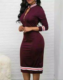 Дамска рокля в цвят бордо - код 3565