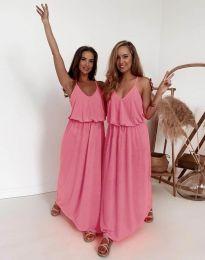 Дълга дамска рокля в розово - код 11993
