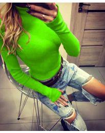 Дамска блуза с поло яка в зелено - код 5256