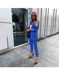 Елегантен комплект от сако и панталон в синьо - код 862