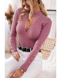 Дамска блуза в цвят пудра - код 1583